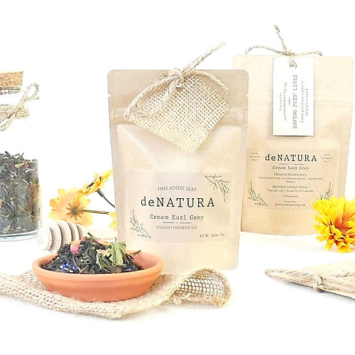 Cream Earl Grey Loose Tea in a Craft Pouch by daNATURE