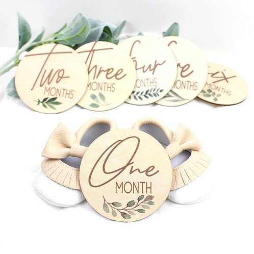 Botanical Monthly Milestone Discs (Camel) by Birchmark Designs