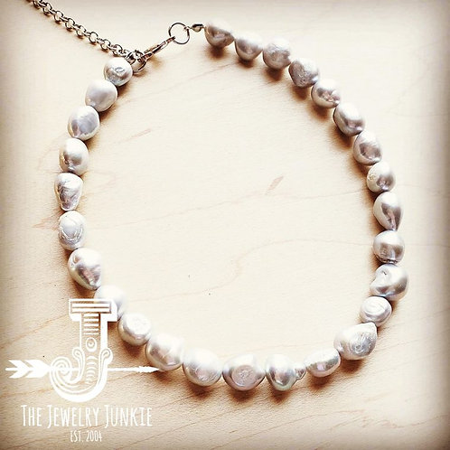 Genuine Gray Pearl Choker Necklace by The Jewelry Junkie