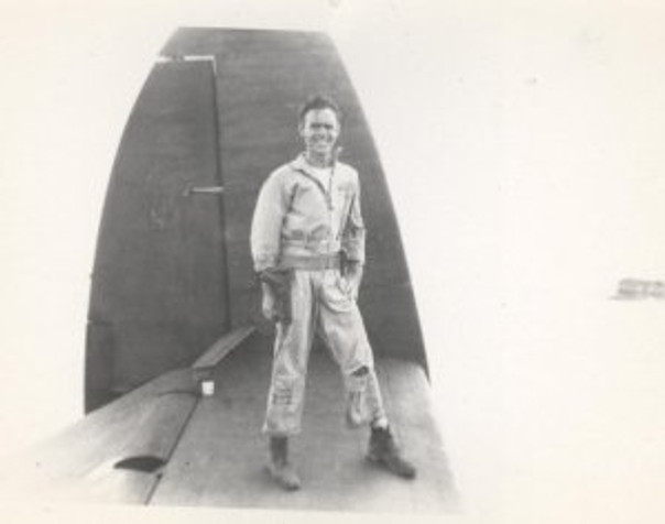 Dad on the wing of a PBM5 seaplane. WWII