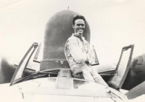 Dad in the rotating gun turret of a PBM5 seaplane. World War II, Pacific Theatre (Phillapines, Bora Bora, China