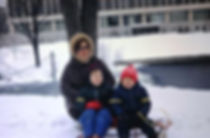 Milena Pallaghy and children in snow at Michigan State University 1970 on creation6000.com