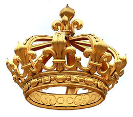 Isolated golden crown  to Versailles cas