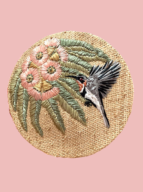 Pink Flowering Gum and Western Spinebill