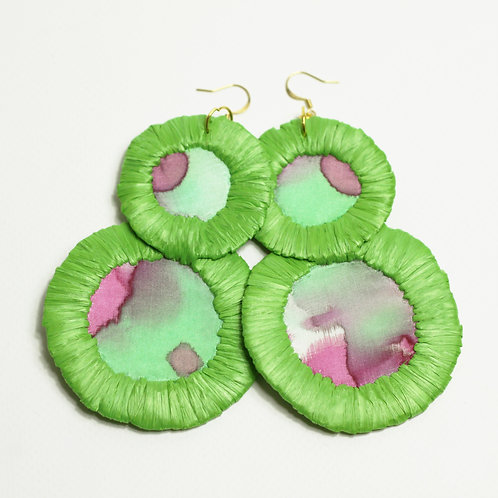 Silk and Raffia Earring