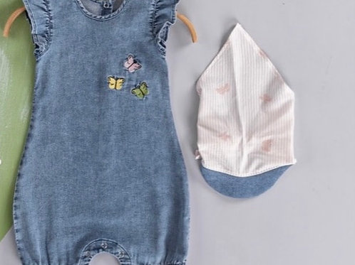 Baby Girls Embroidered Butterfly Denim Romper
