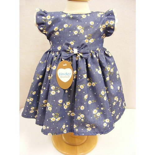 KINDER BOUTIQUE CHAMBRAY DAISY CAP SLEEVED COTTON DRESS