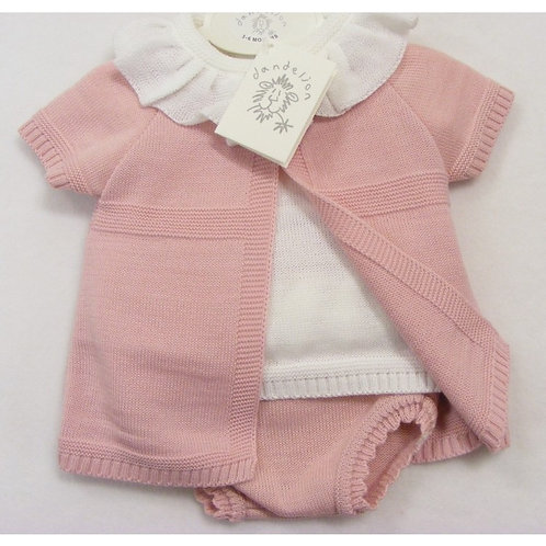DANDELION DUSTY PINK KNITTED FRILL NECK 3PCE SET