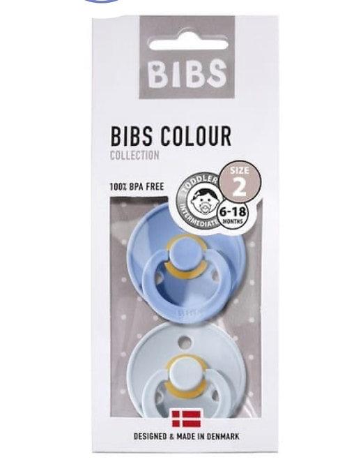 BiBs Twin Pack Blue Dummy (Size 2 ) 6-18 months