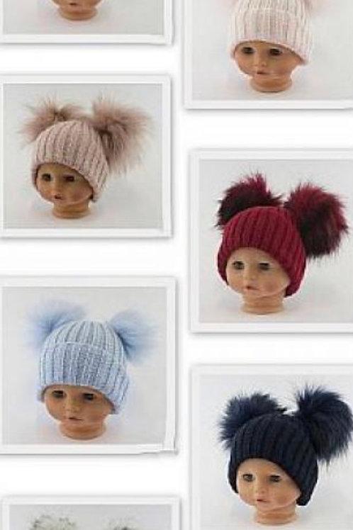 Double Pom Pom Hat  Various Sizes & Colours