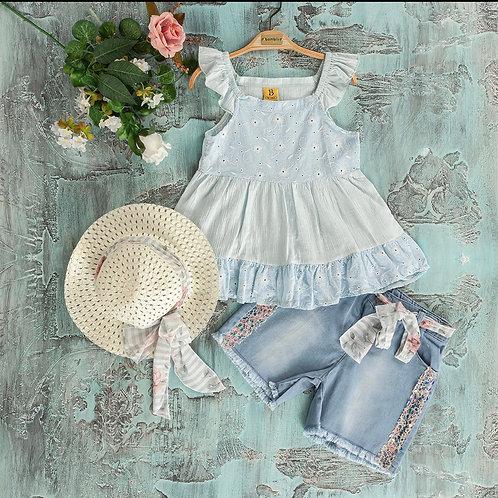 Girls Elegant Anglay Layered Baby Blue Top & Denim Shorts Set with Straw Hat (