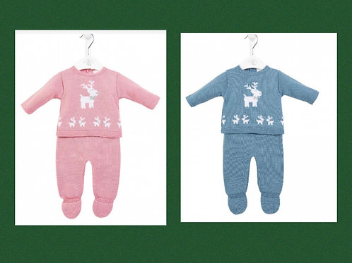 Dandelion Knitted Reindeer Outfit Pink / Blue