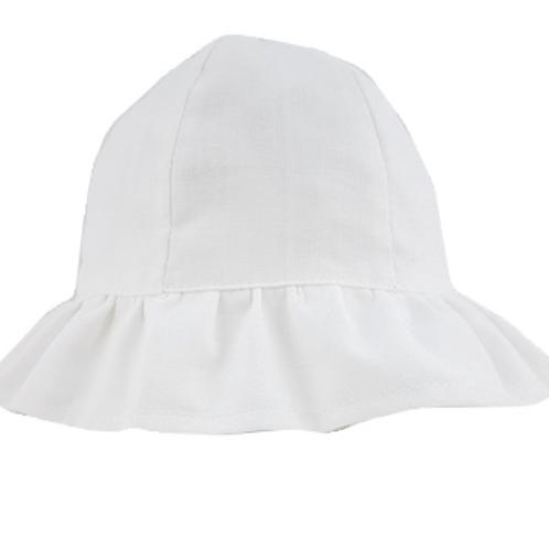 Frilled Cloche Hat - White