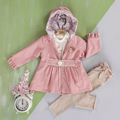 Three Piece Flower Embroidery Pink Waterproof Jacket and Jeans Set