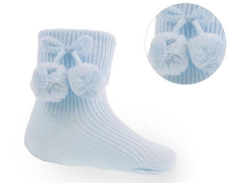 Pom Pom Socks Blue