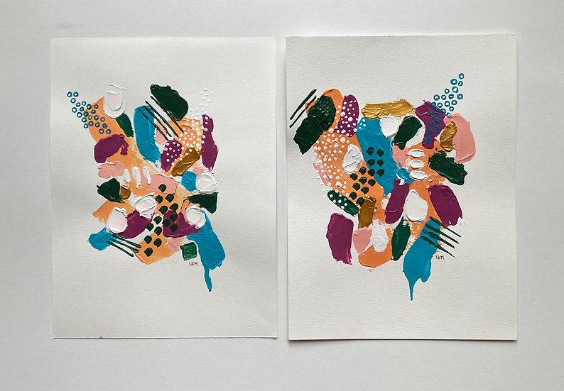 "Set of 2, acrylic on paper, 9x12"""
