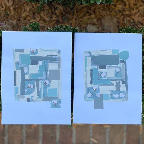 """A Pair o' Cotton Bolls"" 9x12, (set of 2)"