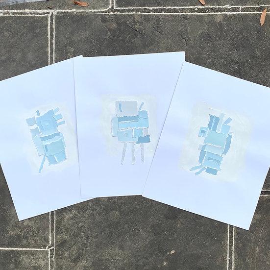 """Blue"", 11x14"" (set of 3)"