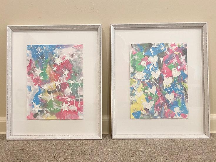 """Two of a Kind"" , 18x15"", (*set of 2, custom framed)"