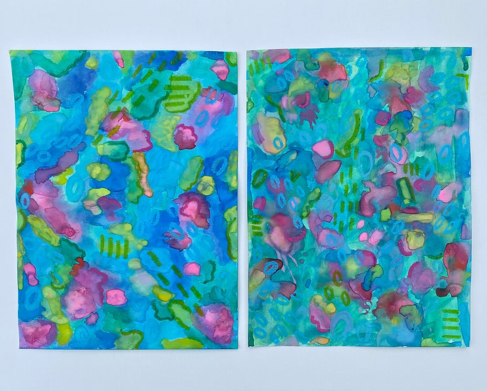 """""""Underwater Lily Pads"""", 9x12"""", (set of 2)"""