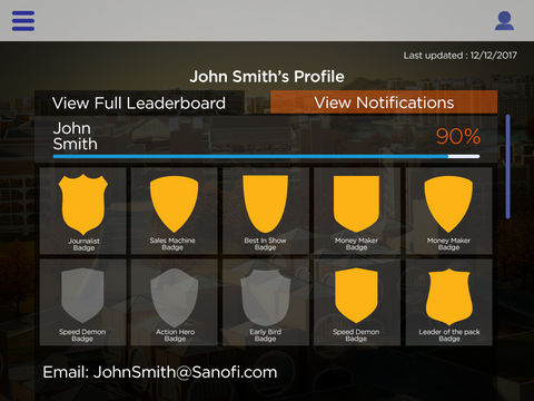 iPad Training App profile screen