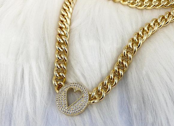 Heart Diamante Pendant Choker