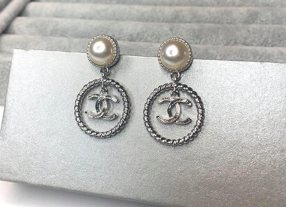 Silver Double Circle C Earrings