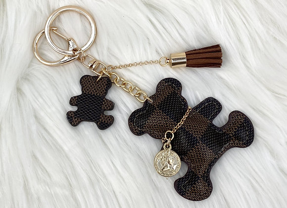 Checked Brown Bear Keyring