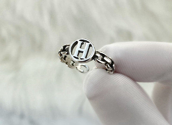 Silver H Ring