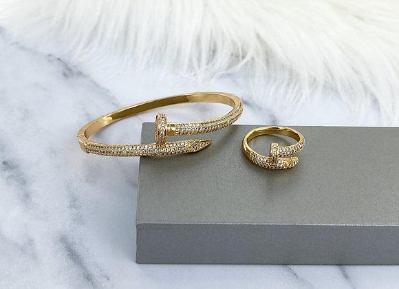 Yellow Gold Nail Sparkle Bangle & Ring Set