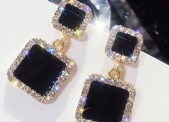 Drop Square Black Earrings