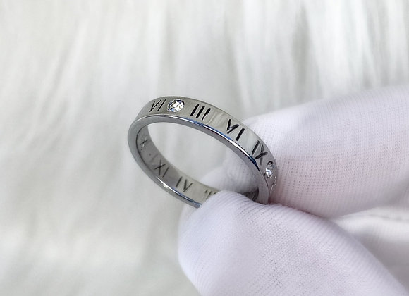 Numeral Diamante Silver Ring