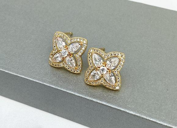 Gold Crystal Stud Earrings