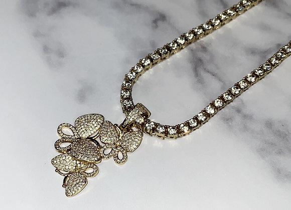 Gold Multi Butterfly Pendant