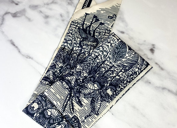 Silk Printed Navy & Cream Scarf