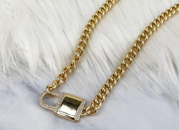 Diamante Oversized Lock Choker