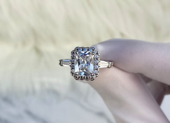 Sterling Silver Large Detailed Stone Ring