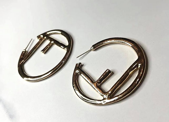 Large F Gold Hoops