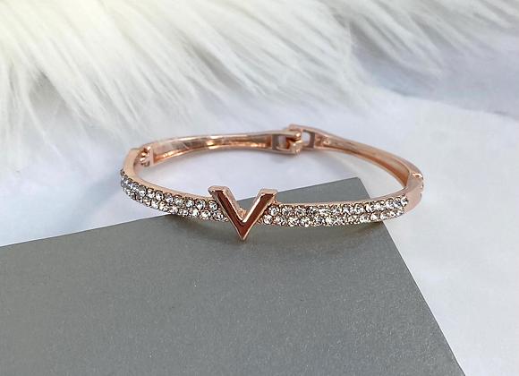 Rose Gold Diamante V Bracelet