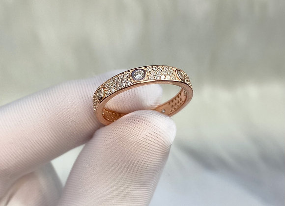 Sterling Silver Rose Gold Stone Ring