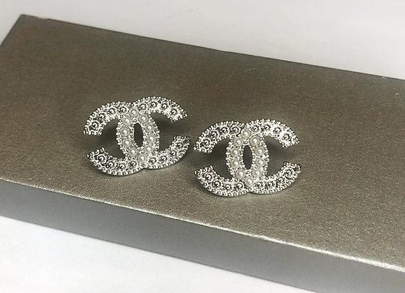 Oversized Silver C Earrings