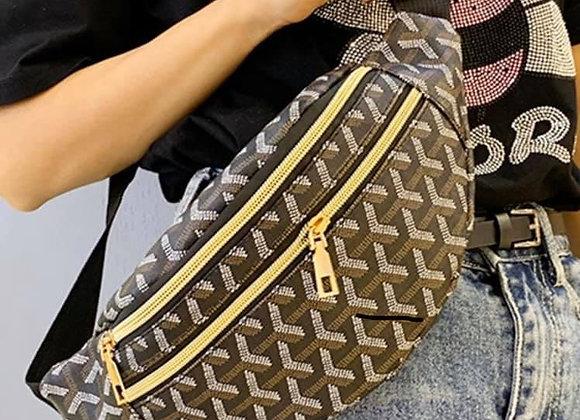 Black Patterned Bum Bag