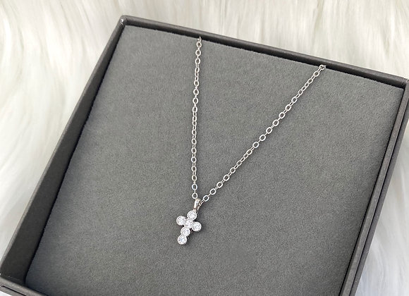 Sterling Silver Dainty Stone Cross Necklace