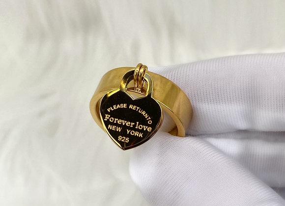Gold 'Forever Love' Charm Ring