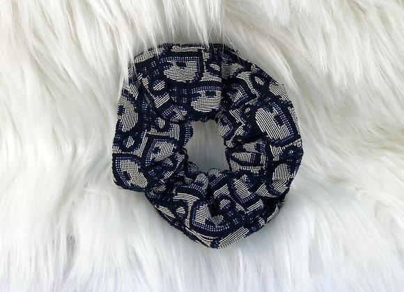 Navy Print Scrunchies