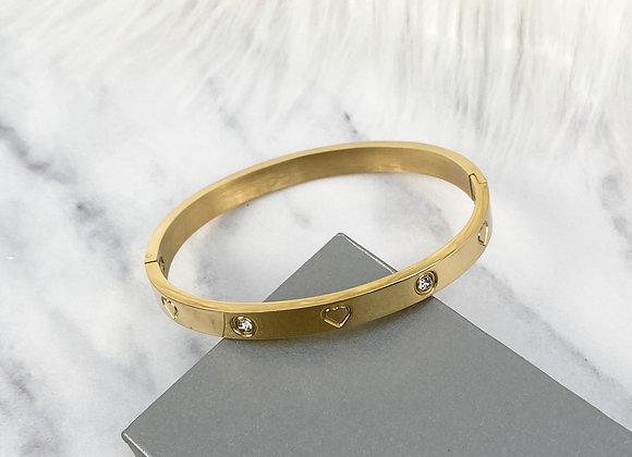 Heart Diamante Gold Bangle