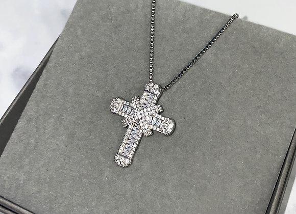 Silver Shine Cross Box Chain Necklace