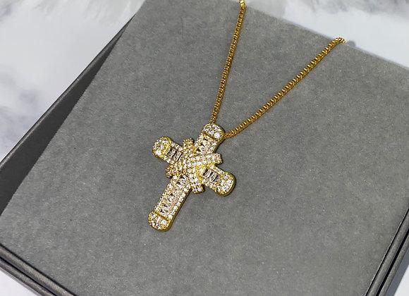 Gold Shine Cross Box Chain Necklace