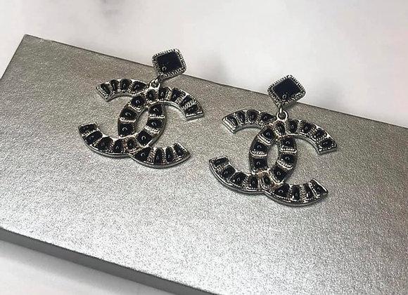 Black Stone Knocker Earrings