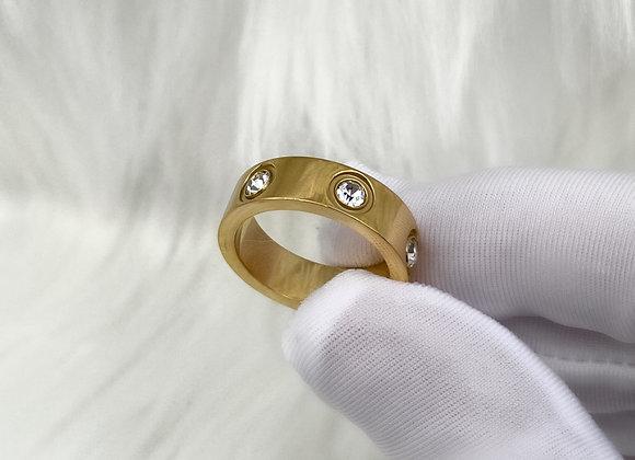 Gold Diamante Ring 6mm